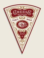 Vector triangular cheese label template in vintage style