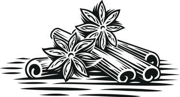 Una ilustración vectorial en blanco y negro de ramas de canela en estilo de grabado sobre fondo blanco.