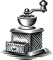Black and white vector illustration of a vintage coffee grinder in engraving style