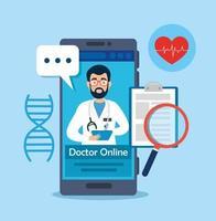 doctor tecnología en línea con teléfono inteligente e iconos