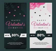 Plantilla de banner de venta de feliz día de san valentín con fondo oscuro y gris vector