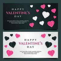 Plantilla de banner de feliz día de San Valentín con fondo oscuro y gris vector
