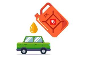 pour gasoline into the car from a can. flat vector illustration isolated on white background.