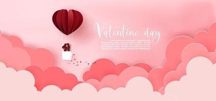 Paper art of heart balloon float sky vector