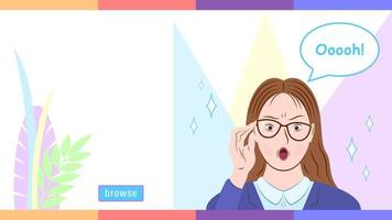 Woman in Glasses in Amazement Emotion vector