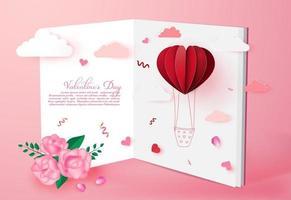 Fondo de tarjeta de invitación de amor de San Valentín con globo en forma de corazón de origami en estilo de arte de papel de nube.