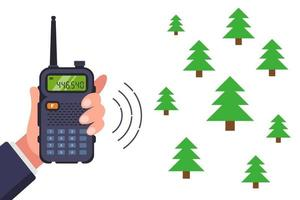 navigate the forest with a walkie-talkie. flat vector illustration.