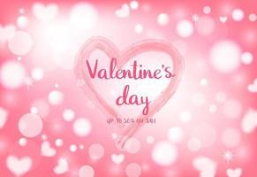 February 14 Valentine's Day Celebration on light heart bokeh background. vector