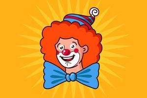 kind clown face with big bow tie. flat vector illustration of character.