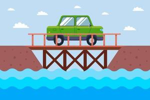 the car rides on a wooden bridge across the river. flat vector illustration.