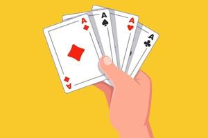 hand holds four aces. winning the card game. flat vector illustration.
