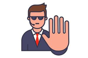 bodyguard icon with sunglasses and walkie-talkie. show stop hand gesture. flat vector character illustration.