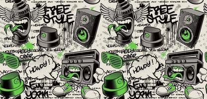 Graffiti wall background, graffiti seamless pattern with different graffiti characters vector