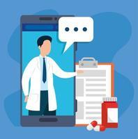 Medicina tecnología en línea con teléfono inteligente y medicina.