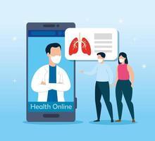 tecnología de la salud en línea con personas enfermas. vector
