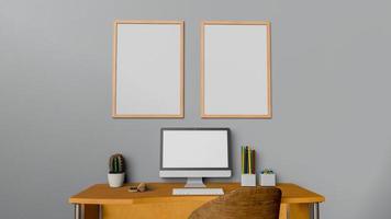 simulacro de cartel en el espacio de trabajo en casa