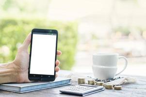 teléfono inteligente con pantalla blanca foto