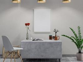3D rendering of mock up poster in an office setting photo