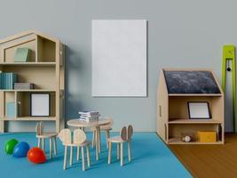 Render 3D de maqueta de póster en la habitación de los niños foto