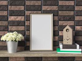 3D rendering of frame mock up on shelves photo