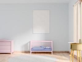Render 3D de cartel en blanco en el dormitorio del bebé foto