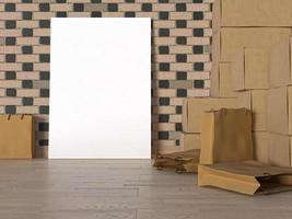 3D render of blank poster in storage room photo
