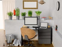Representación 3D de oficina con pantallas y marcos en blanco foto