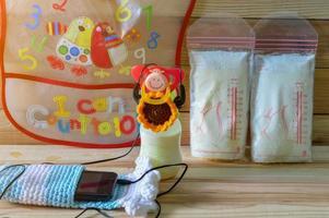 Frozen breast milk and baby accessories photo