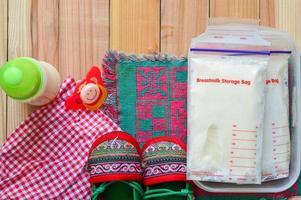Breast milk frozen in storage bags for baby photo