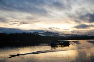 Raft on the river in Thailand photo