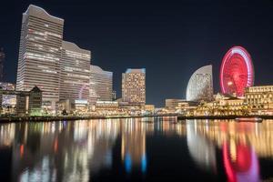 larga exposición de un paisaje urbano en yokohama foto