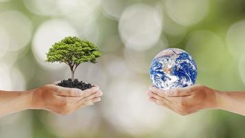 Exchange of planets in human hands with trees in human hands, the concept of Earth Day and Maintaining Environmental Balance, Elements of this image furnished by NASA photo