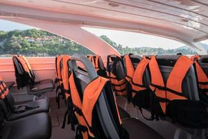 Life jackets on a speed boat photo
