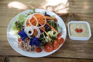 Salad on a table photo