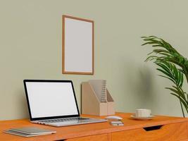 simulacros de póster y portátil en el escritorio