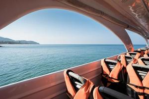 Speed boat over water photo