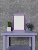 Mock up purple frame on table photo