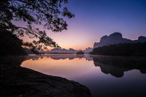 Colorful sunrise on water photo