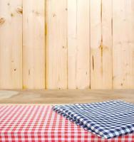 Checkered tablecloth on a table