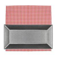 Rectangular plate on red cloth