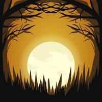 Halloween dark moon light forest design vector