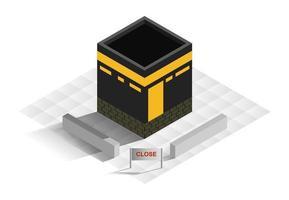 Ilustración isométrica de la meca de la mezquita sagrada. vector