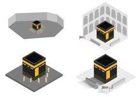 vector isométrico la ilustración de la meca de la mezquita sagrada.