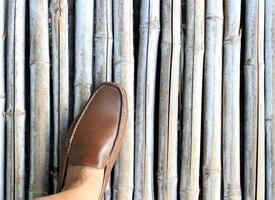 Shoe on bamboo