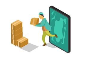 Person with shipping box product isometric concept vector