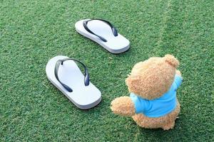 oso y sandalias foto