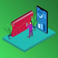 Person checking perfomanece statistic business Vector isometric concept