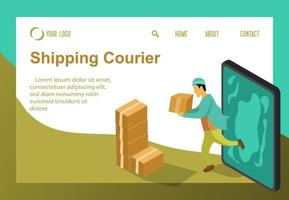 young shipping box product isometric concept vector