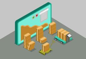 Monitor isometric process packing concept vector