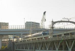 Train on the bridge in Tokyo